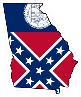 Georgia Outline State Flag Decal / Sticker 04