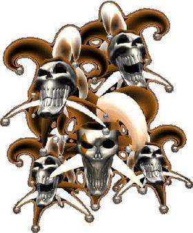 Orange Jester Skulls Decal / Sticker