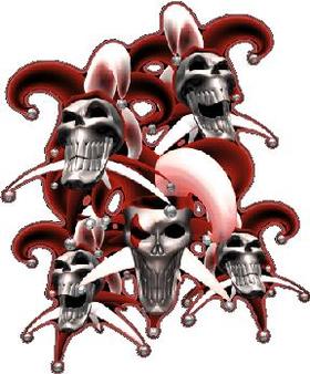 Red Jester Skulls Decal / Sticker