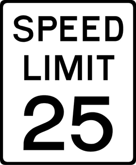 25 MPH Speed Limit Sign Decal / Sticker a