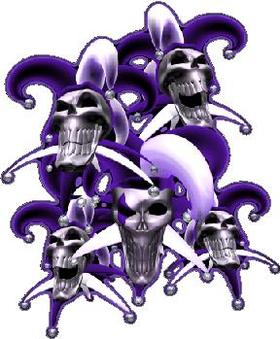 Purple Jester Skulls Decal / Sticker