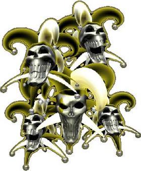 Yellow Jester Skulls Decal / Sticker