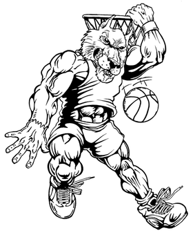 Basketball Wolves Mascot Decal / Sticker 3