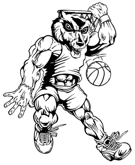 Basketball Wolverines / Badgers Mascot Decal / Sticker 3