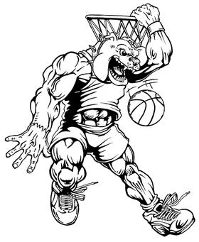 Basketball Bulldog Mascot Decal / Sticker 3