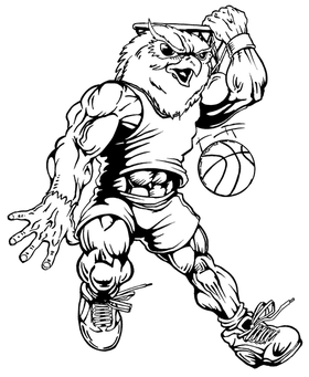 Basketball Owls Mascot Decal / Sticker 3