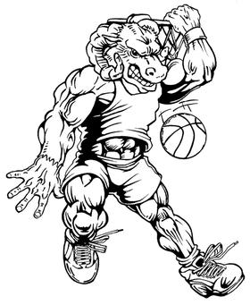 Basketball Rams Mascot Decal / Sticker 2