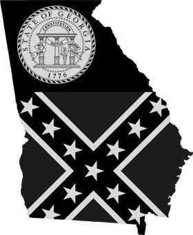 Georgia Outline State Flag Decal / Sticker 07