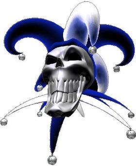 Blue Jester Skull Decal / Sticker