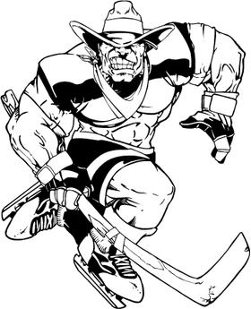 Hockey Cowboys Mascot Decal / Sticker