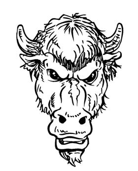 Buffalo Head Mascot Decal / Sticker hd3