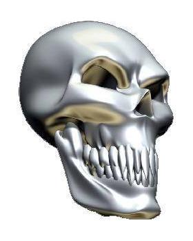 3D Chrome Skull 02 Decal / Sticker