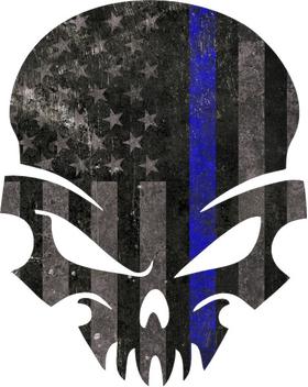 Blue Lives Matter American Flag Punisher Decal / Sticker 44