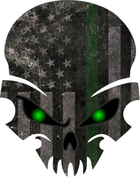 Distressed Thin Green Line American Flag Skull Decal / Sticker 50