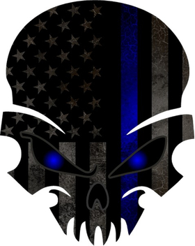 Blue Lives Matter American Flag Punisher Decal / Sticker 51