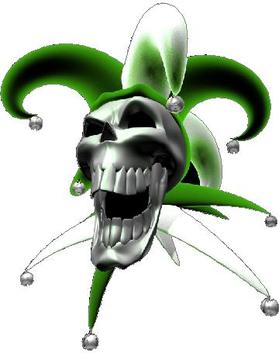 Green Jester Skull Decal / Sticker
