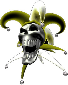Yellow Jester Skull Decal / Sticker