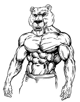 Weight Lifting Bears Mascot Decal / Sticker 01