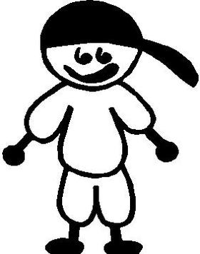 Baseball Boy Stick Figure Decal / Sticker 02