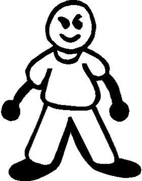 Bald Guy Stick Figure Decal / Sticker 02