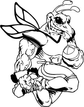 Football Hornet, Yellow Jacket, Bee Mascot Decal / Sticker 07B