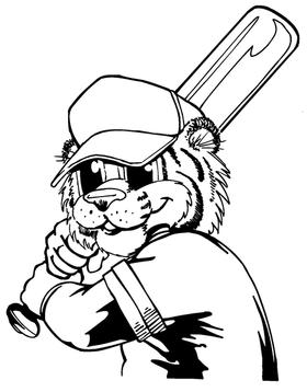 Baseball Tigers Mascot Decal / Sticker 8