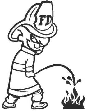 Z1 Pee On Decal / Sticker - Fire Kid Design 1
