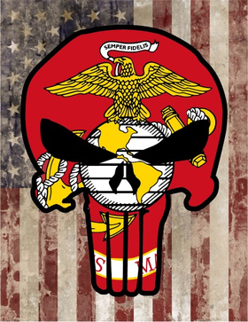 Marines and American Flag Punisher Decal / Sticker 10