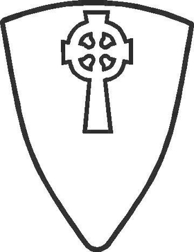 Shield with Celctic Cross Decal / Sticker