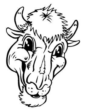 Buffalo Head Mascot Decal / Sticker hd1