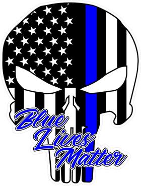 Blue Lives Matter American Flag Punisher Decal / Sticker 135