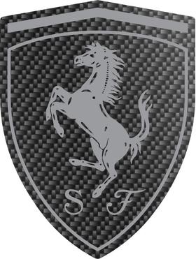 Carbon Fiber Ferrari Crest Decal / Sticker 32