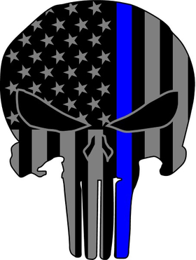 Thin Blue Line American Flag Punisher Decal / Sticker 68