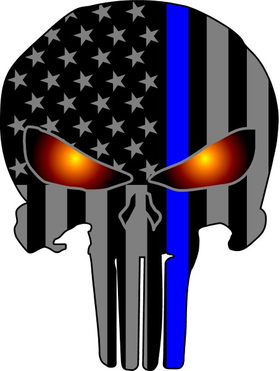 Thin Blue Line American Flag Punisher Decal / Sticker 82