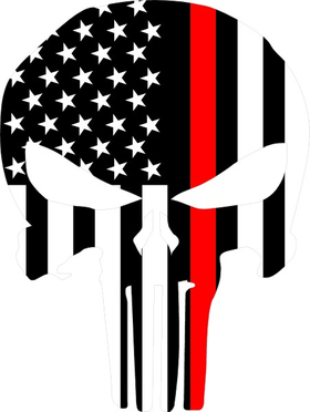 Thin Red Line American Flag Punisher Decal / Sticker 75