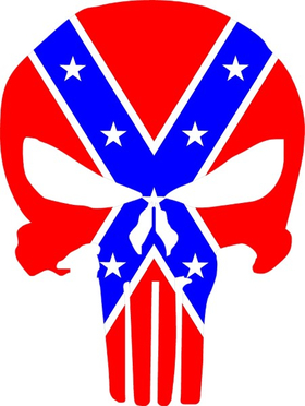 Confederate Flag Punisher Decal / Sticker 126