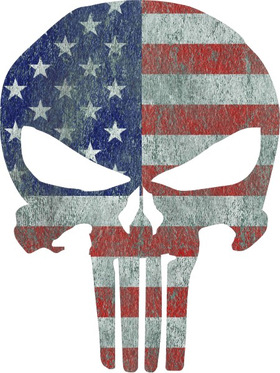 Weathered American Flag Punisher Decal / Sticker 48