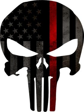 Thin Red Line American Flag Punisher Decal / Sticker 73