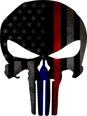 Thin Blue/Red Line American Flag Punisher Decal / Sticker 81