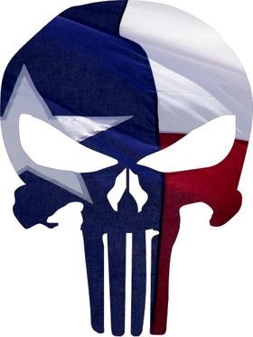 Texas Flag Punisher Decal / Sticker 106