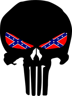 Punisher With Confederate Flag Eyes Decal / Sticker 129