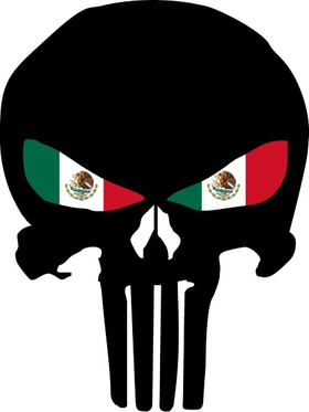 Punisher With Mexian Flag Eyes Decal / Sticker 131