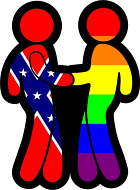 z Confederate Flag and LGBT Flag Shaking Hands Decal / Sticker 03