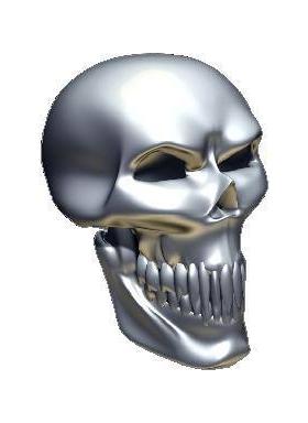 3D Chrome Skull 03 Decal / Sticker