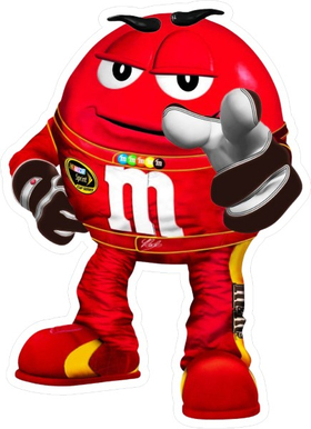 Red NASCAR M&M Decal / Sticker 45