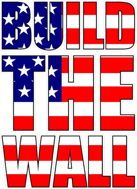 Build The Wall American Flag Decal / Sticker 05