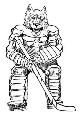 Hockey Wolves Mascot Decal / Sticker 2