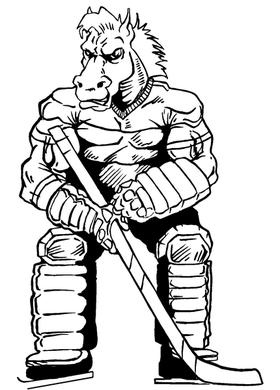 Hockey Horse Mascot Decal / Sticker 1