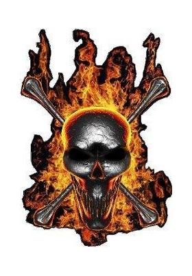 Molten Metal Flaming Skull Decal / Sticker