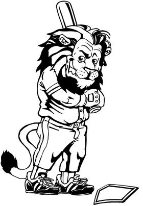 Lion Baseball Mascot Decal / Sticker